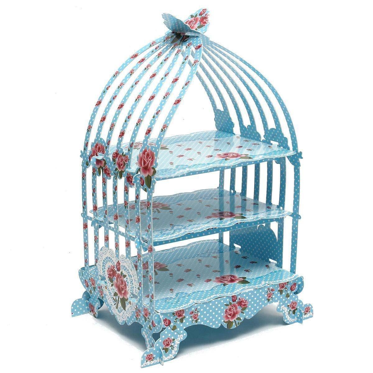 SODIAL(R) Birdcage Cupcake Cardboard Cake Stand Vintage Wedding Tea Party Display Holder blue LEPTS1111