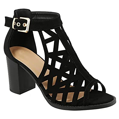 e7d65317f5 ShoBeautiful Women's Cage Ankle Strap Open Toe Chunky High Heel Gladiator  Dress Sandal (5,