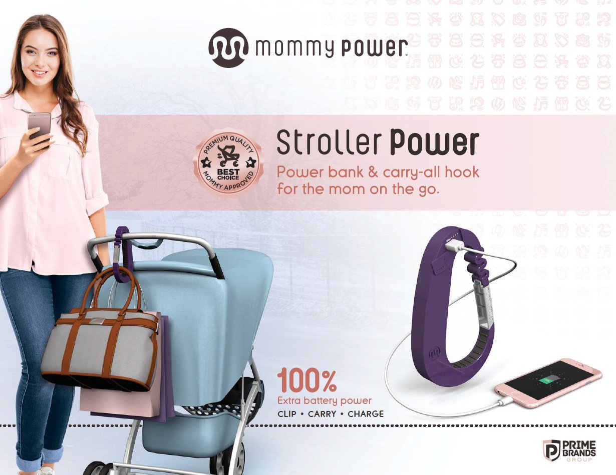 Stroller Power Stroller Hook & Power Bank - Carry-All Hook for The mom on The Go (Baby Pink)