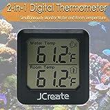 Capetsma Mini 2in1 Digital Thermometer, Aquarium Thermometer and Indoor Thermometer with Accurate Digital Display, Used to Monitor Air Temperature in Car, Baby Room, Greenhouse and Fish Tank (Black)