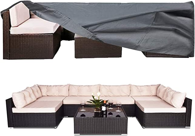 Amazon Com Akefit 100 Waterproof Patio Furniture Cover Fits 8 12 Seat Anti Uv Snow Proof Outdoor Sectional Furniture Cover Rectangular Table Chairs Set Covers With Windproof Buckles Air Vents 126x63x28 In Garden