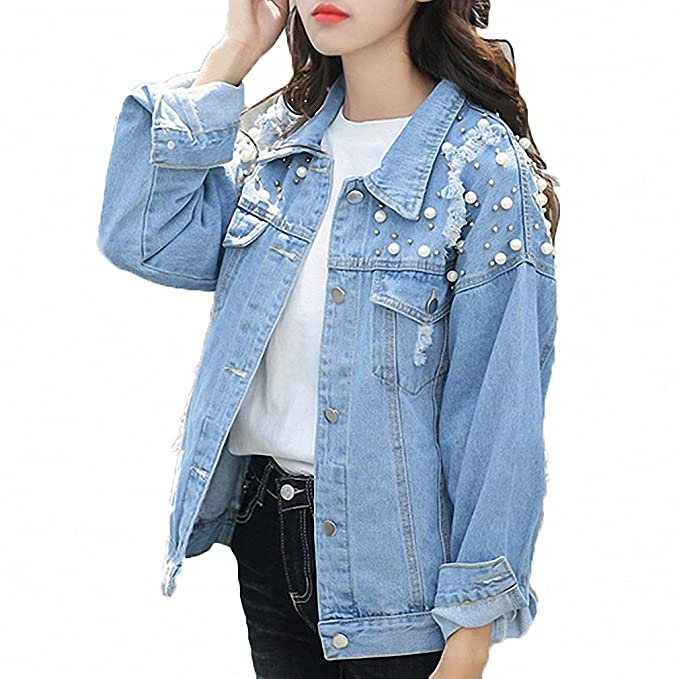 Huiwa Womens Denim Jacket Pearls Beading Jeans Coat Loose Long Sleeve Ripped Jackets