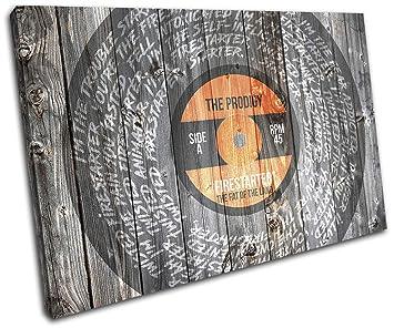 00B Bereit Zum Aufhangen -SG32-LO-E Canvas Art Print RC-8717 Bold Bloc Design Prodigy Firestarter Lyrics Vinyl Musical 120x80cm Single Leinwand Kunstdruck Box gerahmte Bild Wand hangen