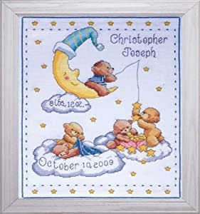 "Tobin Heavenly Bears Sampler, 8 x 10 Cross Stitch Kit, 11""x14"" 14 Count"