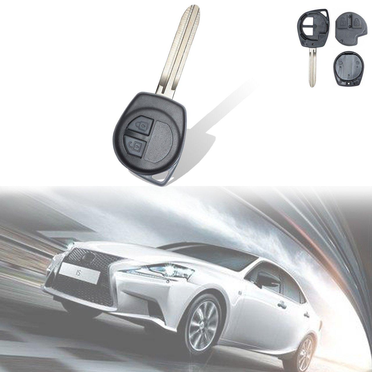 TUINCYN Mando a Distancia de Entrada sin Llave ID46 Chip 433 MHz Llave de Repuesto con 2 Botones para Cerradura de Puerta para Suzuki Grand Vitara HP IGNIS, Negro (Pack de 1)