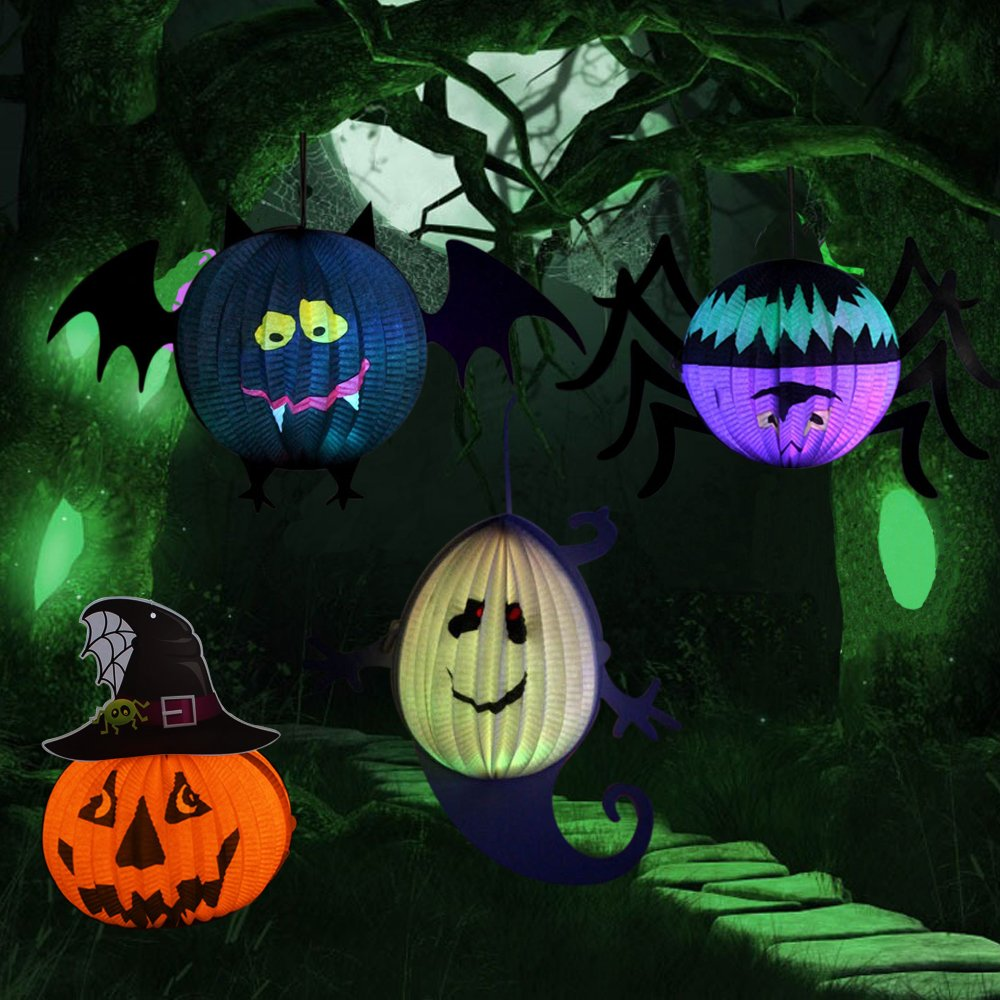 Halloween Pumpkin Lantern, 4 Pack Jack-O-Lantern with LED Candle 3D Spider Bat Ghost Paper Lantern Halloween Decoration Party Cosmetic by Eocol