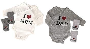 sconto speciale di Liquidazione del 60% selezione premium Baby Body Set con calze ragazzo & ragazza, I love Mum - I ...