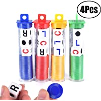 LEEQ LCR Dice Game,4 Tubes Left Center Right Family Dice Games Classmates Friends Colleagues Blue Green Yellow Red Acrylic 16mm