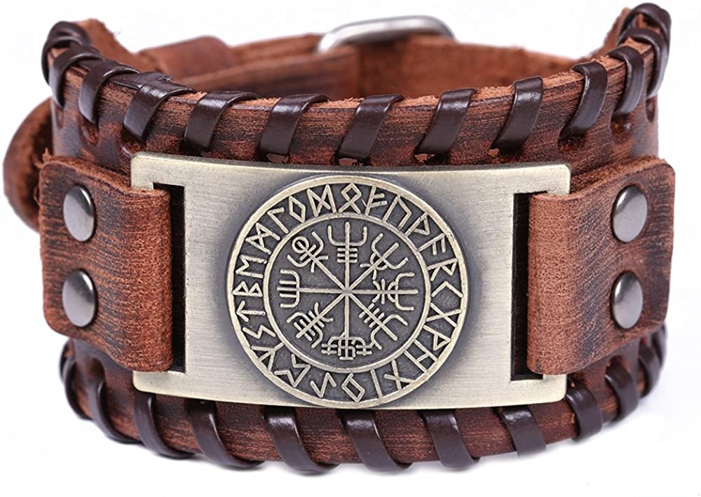 EUEAVAN Slavic Sun Wheel Owl Smart Symbol Talisman Cuff Bracelet for Easing Fatigue,Blood Circulation
