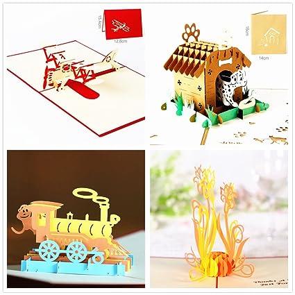 4-packed tarjetas de Pop Up Tarjetas de felicitación para ...