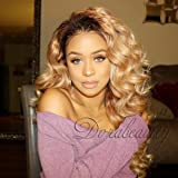 "Dorabeauty Dark Roots Honey Blonde Virgin Human Hair Wig for Black Woman Glueless Lace Front Wig Ombre #1B/27 Body Wave 150% Density 20""inches"