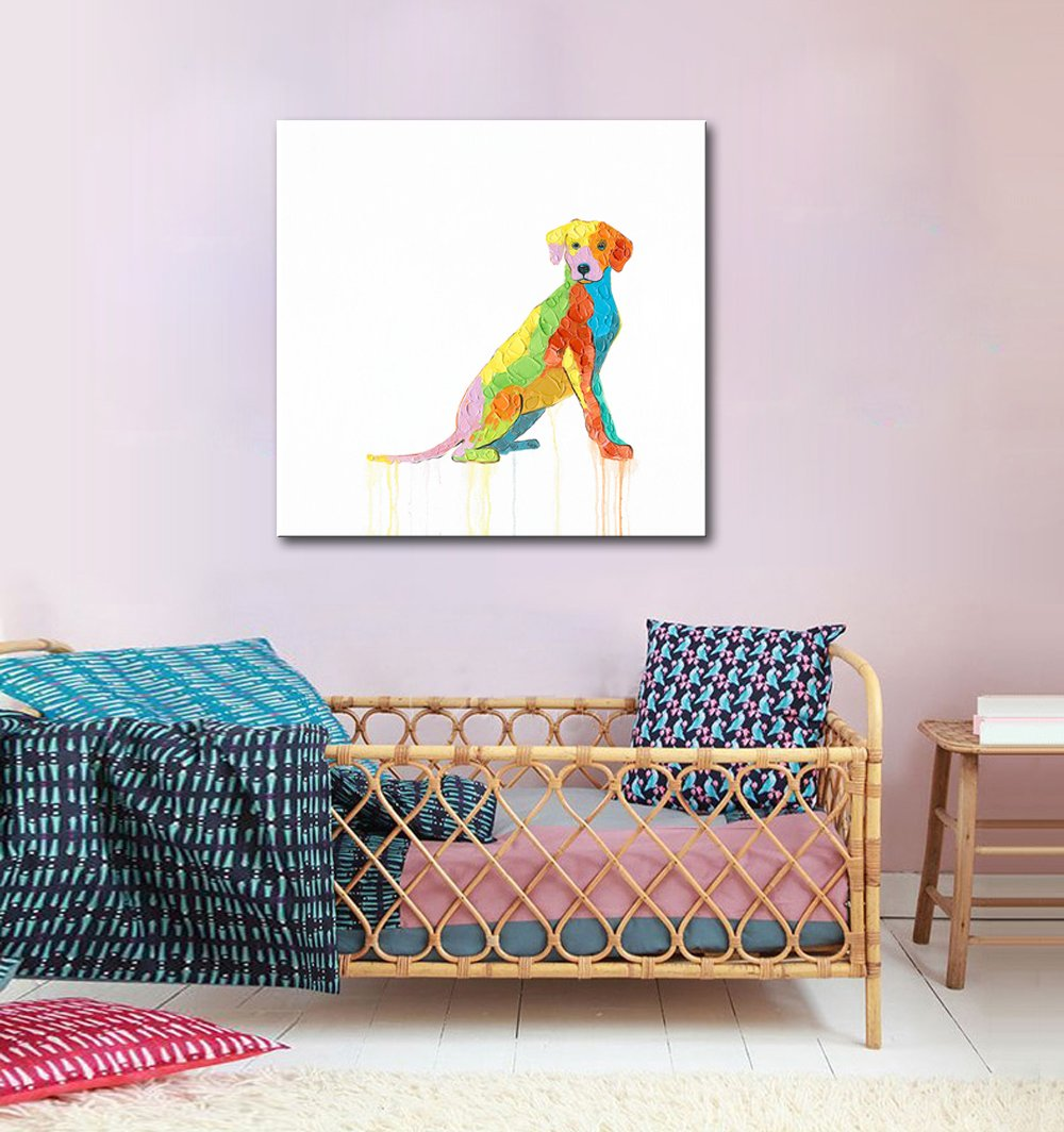FLY SPRAY 1 Panel Framed 100/% Hand Painted Oil Paintings Canvas Wall Art Colorful Cattle Cow Donkey/'s Head Modern Abstract Artwork Painting for Living Room Bedroom Office Home Decoration