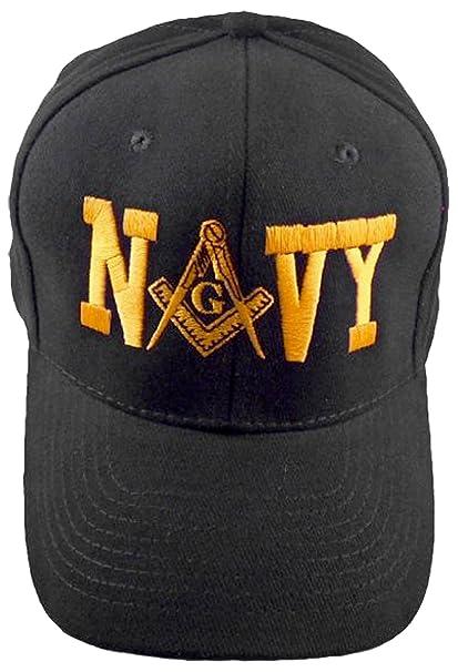 1d116dc93c43c Amazon.com  NAVY MASON Baseball Cap Black Hat Masonic Bumper Sticker   Sports   Outdoors