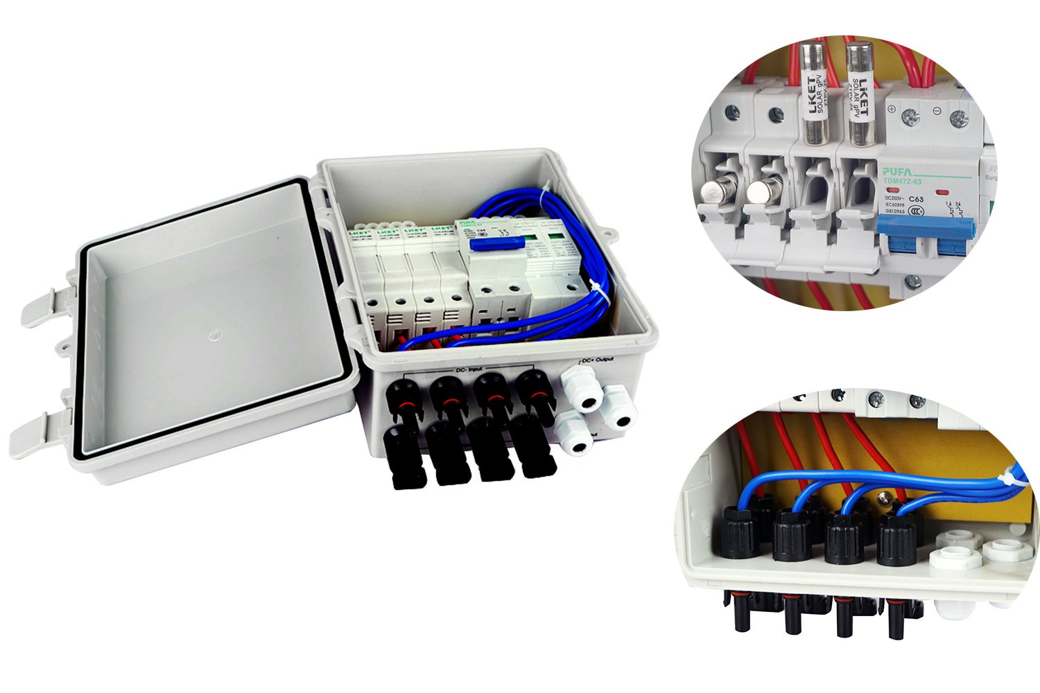 ECO LLC 4 String PV Combiner Box with Lighting Arrester, 10A Rated Current,Universal Solar Panel Connectors,Grounding Bus-Bar Ideal For Off-grid Solar System by ECO LLC (Image #2)