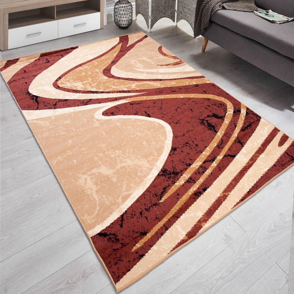 Carpeto Designer Teppich Modern Gestreift Wellen Kurzflor Meliert In Braun - ÖKO Tex (300 x 400 cm)