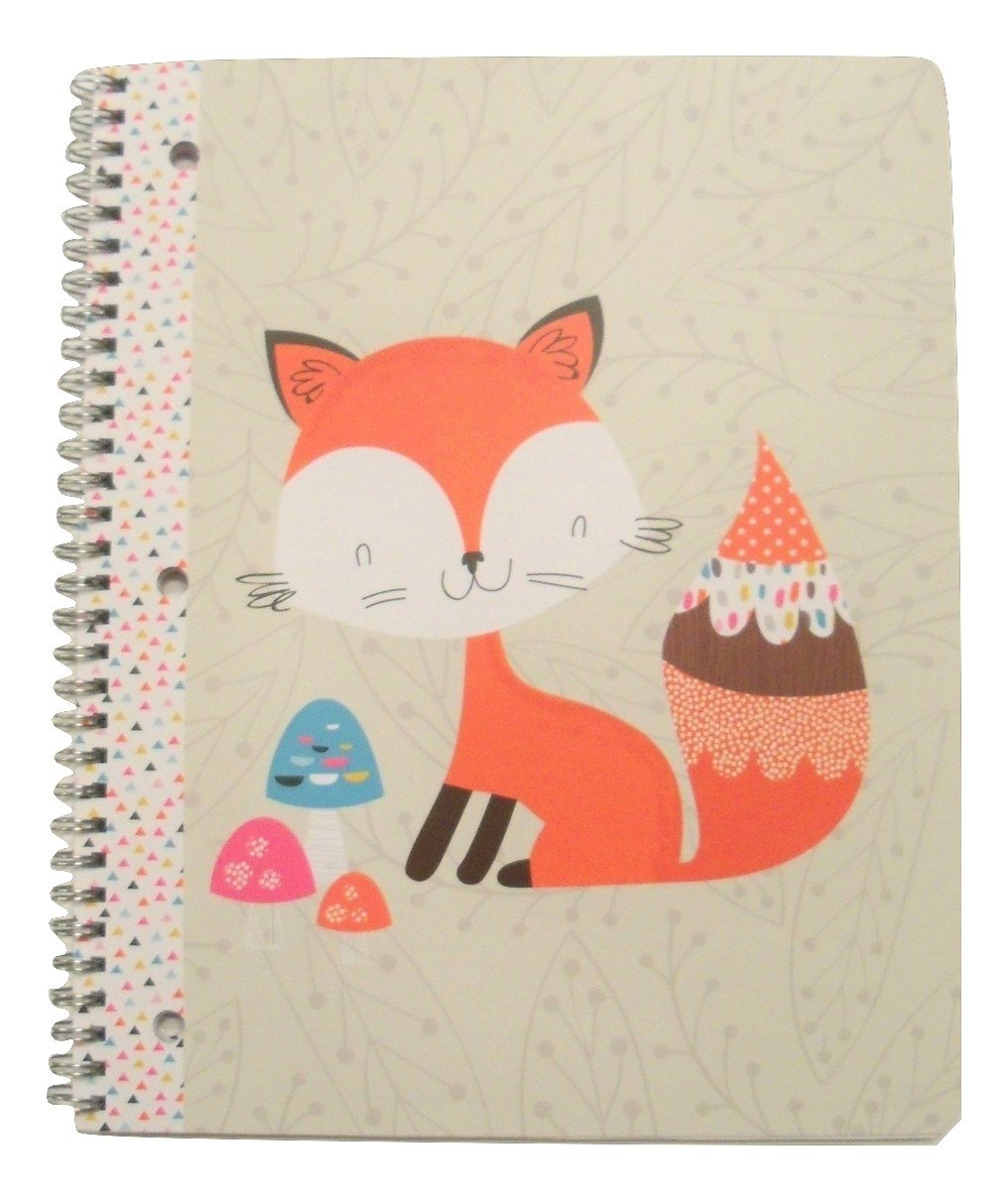 Carolina Pad Studio C Wide Ruled Spiral Notebook ~ Forest Friends (Red Fox with Decorative Mushrooms; 8.5'' x 10.5''; 80 Sheets, 160 Pages)
