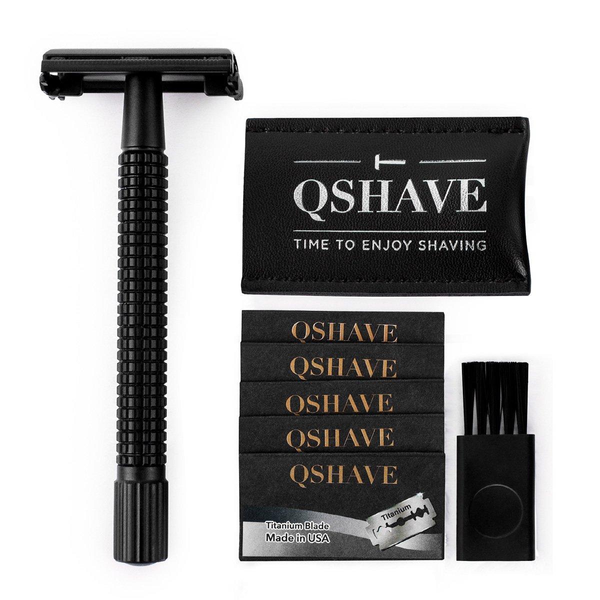 QSHAVE Double Edge 4 inch Long Handle Safety Razor Twist Butterfly Open Matte Black Steel Coating (1 Razor + 5 pcs Titanium Coated Blades + Leather Travel Case)