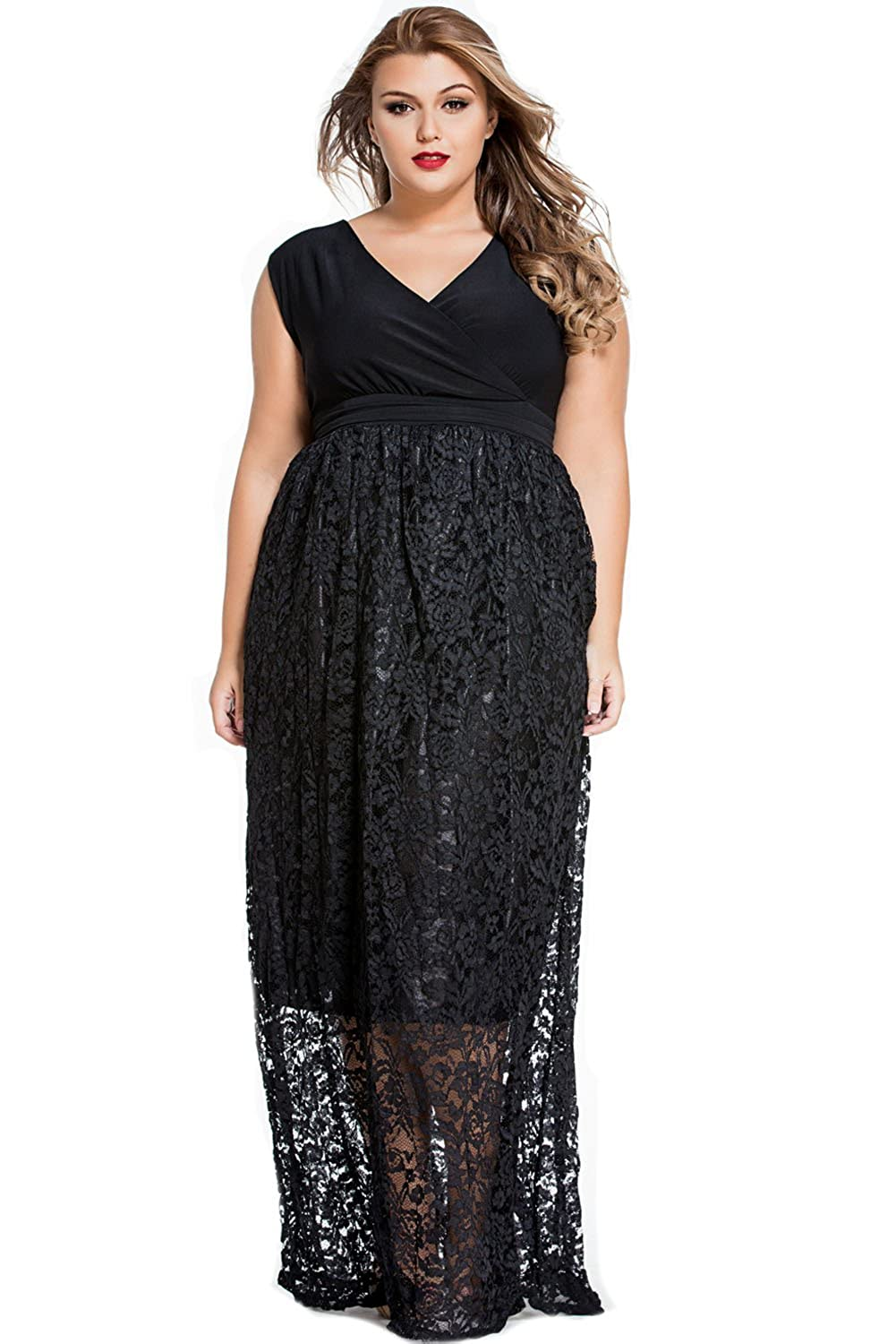 E S U Stylish Black Lace Special Occasion Plus Size Dress Black at Amazon Women s  Clothing store  b936542bfb3d