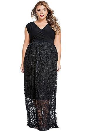 4506b784721 E S U Stylish Black Lace Special Occasion Plus Size Dress Black at Amazon  Women s Clothing store