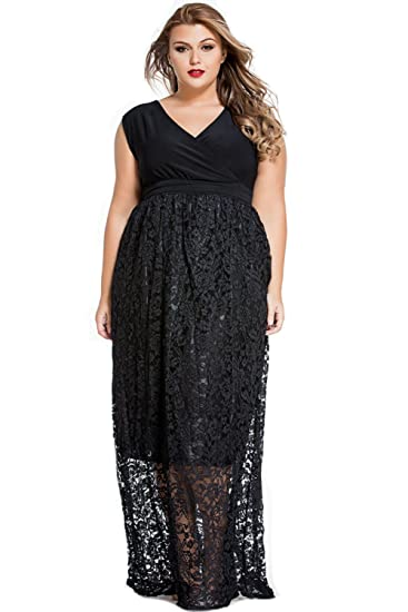 E&S&U Stylish Black Lace Special Occasion Plus Size Dress Black at ...