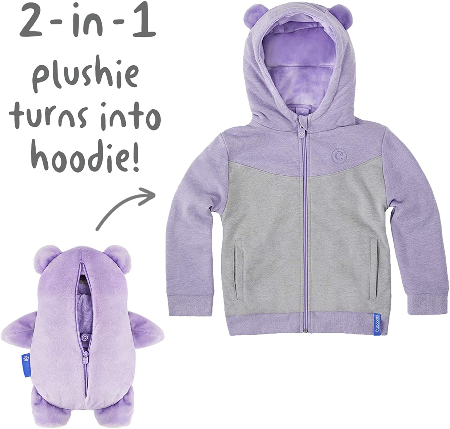 Lilac Purple 2-in-1 Transforming Hoodie and Soft Plushie Cubcoats Bori The Bear