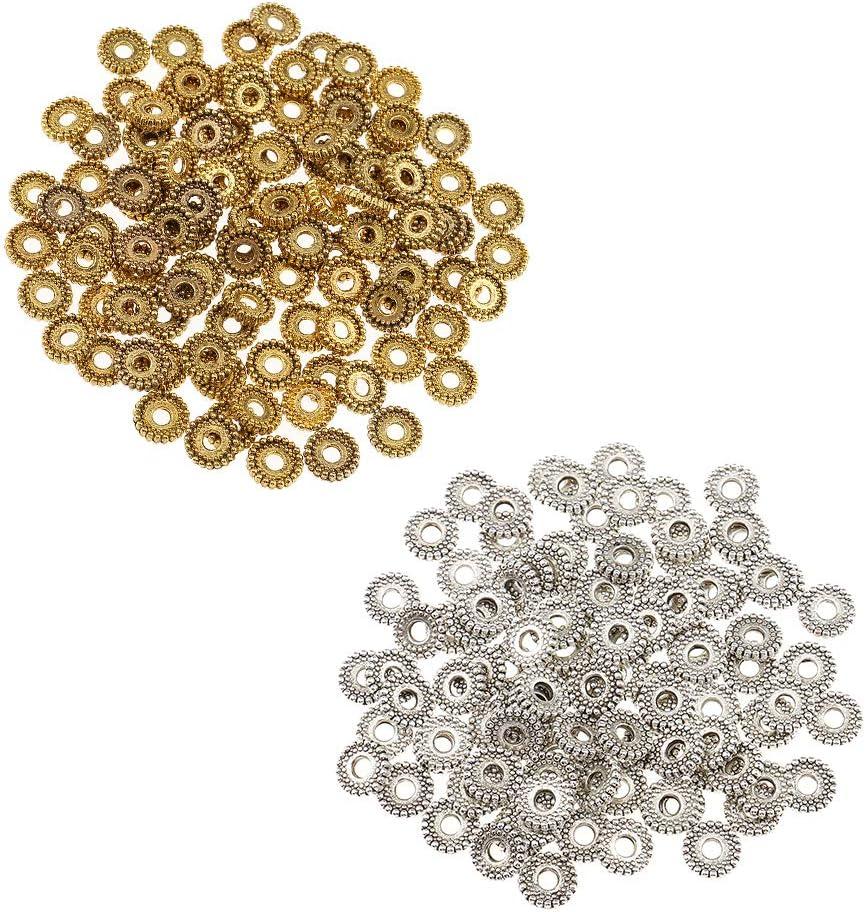 perfeclan 200PCS Perline Distanziali In Alloy Per Bigiotteria Fai Da Te Diameter 8mm
