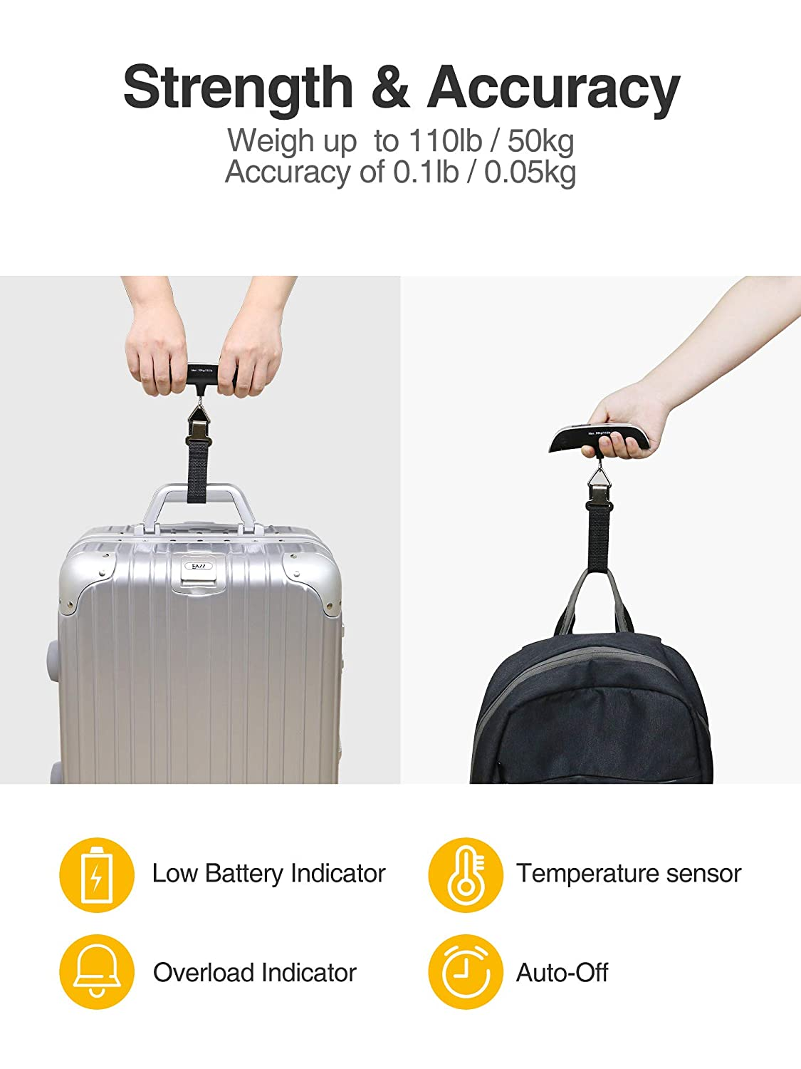 Hook Travel Scale Baggage Scale with Temperature Sensor Portable Scale with Backlit LCD Display 110lbs Hanging Scale Luxtude Digital Luggage Scale