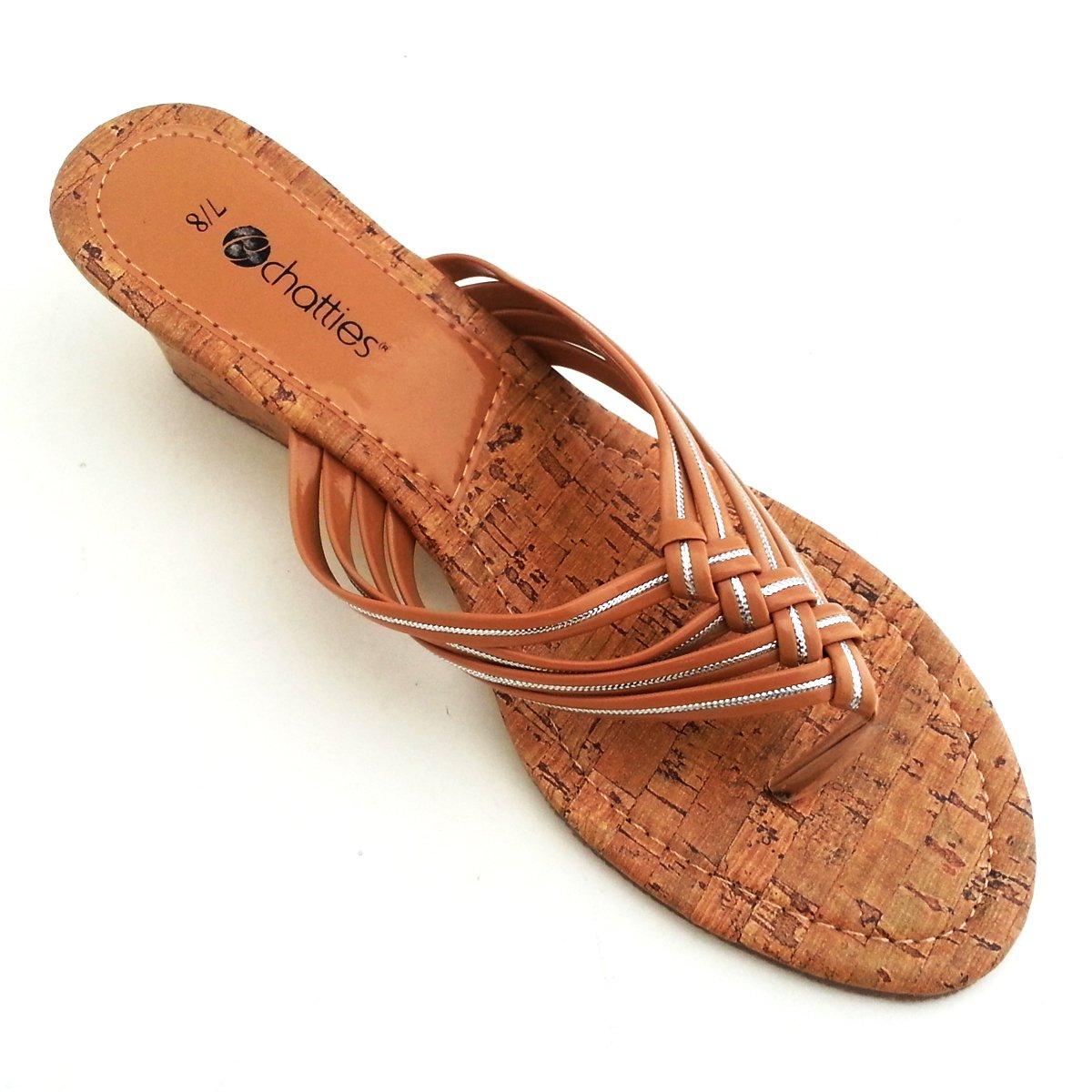 Chatties Women's Braided Cork Mini Wedge Spa Sandals Schonfeld
