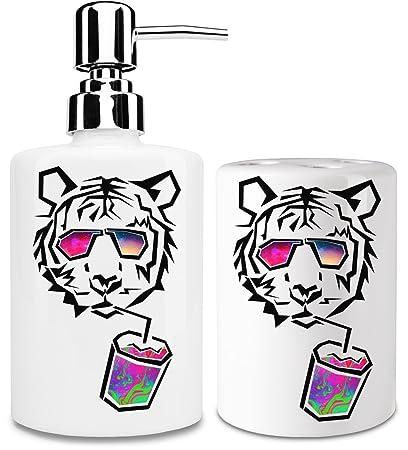 Chill Tiger Dispensador de jabón y Porta Cepillo de dientes