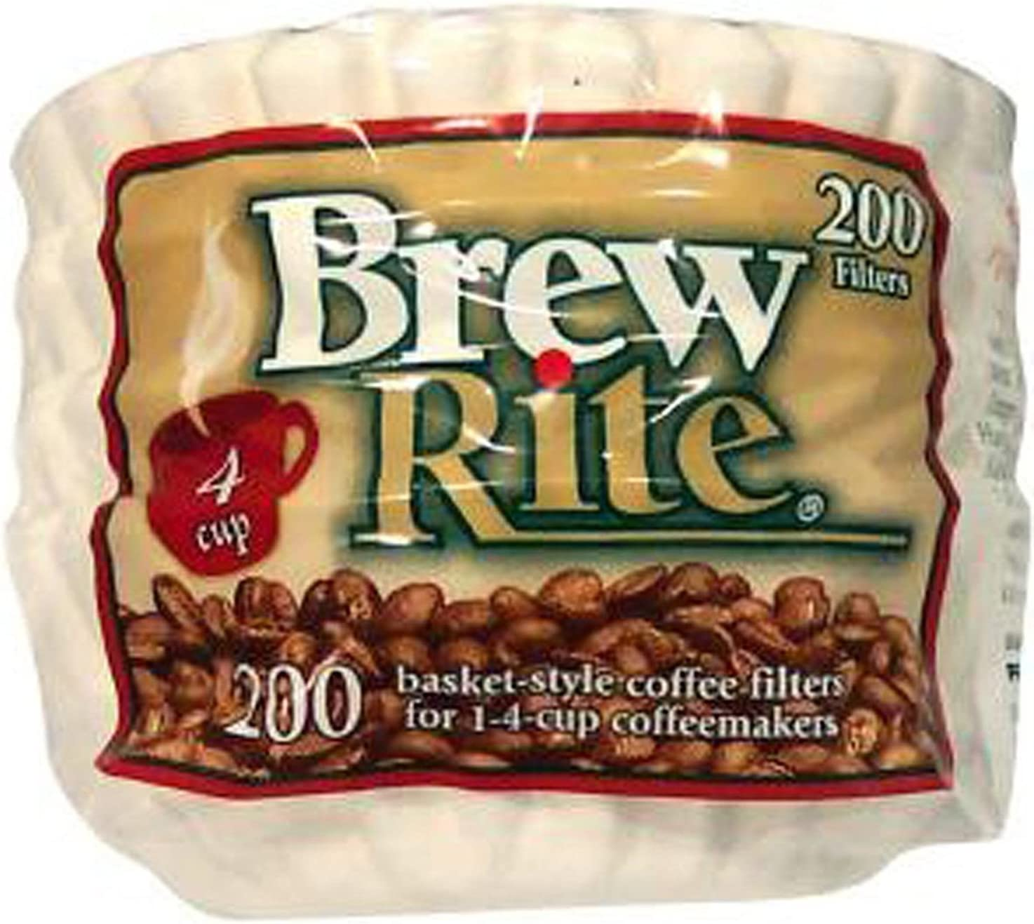 Brew Rite Nein 4 Cup Coffee Basket Disposable Filters 200 c (White)