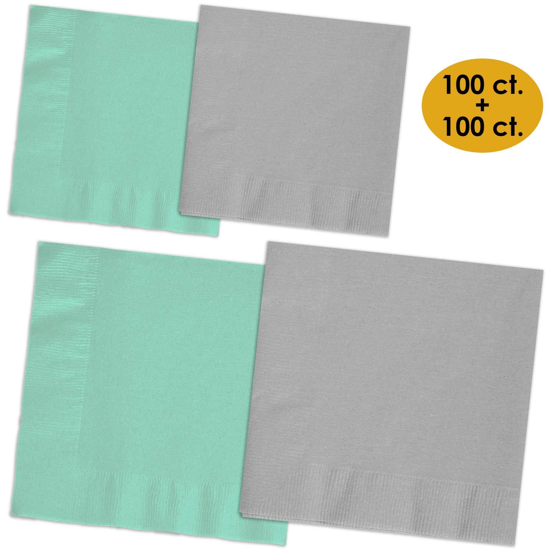 200 Napkins - Mint & Shimmering Silver - 100 Beverage Napkins + 100 Luncheon Napkins, 2-Ply, 50 Per Color Per Type