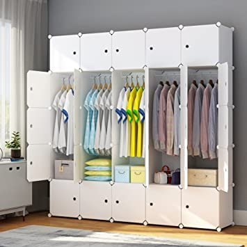 MAGINELS Portable Closet Clothes Wardrobe Bedroom Armoire Storage Organizer  With Doors, White, 10 Cubes