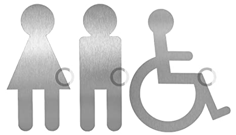 Restroom Sign I Stainless Steel Symbol I Adam Eve Wheelchair I