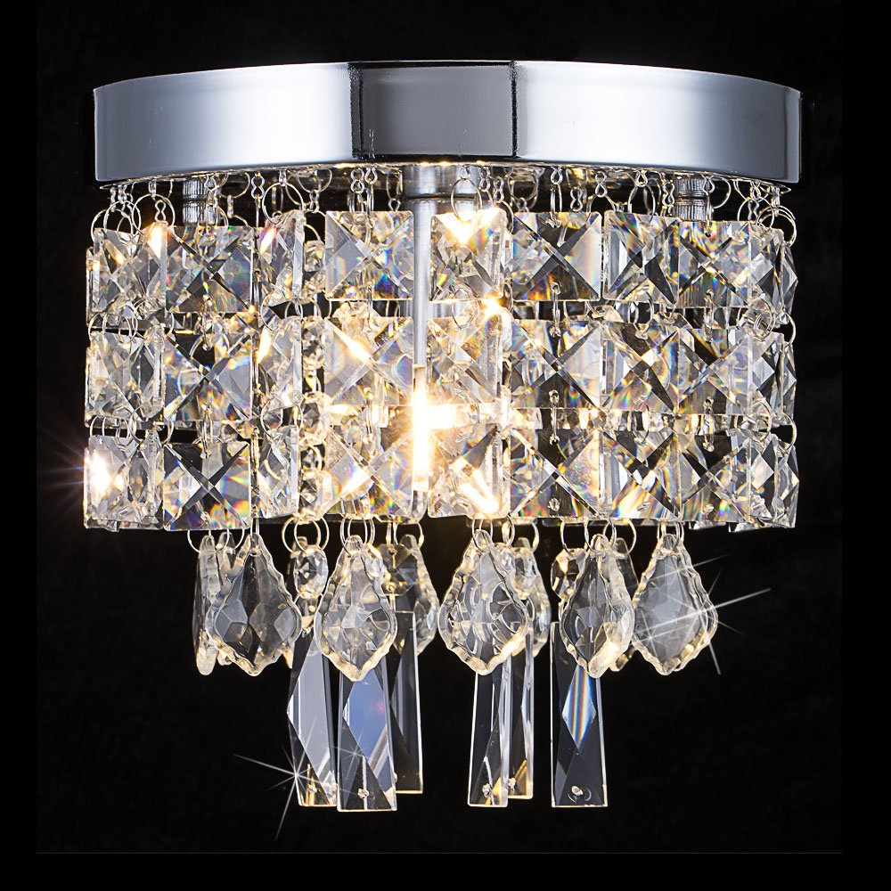 Floodoor Mini Crystal Chandelier Lighting, 1 Light Flush Mount Ceiling Light, W7.9 X H7.9 Modern Pendant Lamp Fixture for Dining Room, Bedroom, Kitchen, Hallway, Bar, Bathroom, Silver