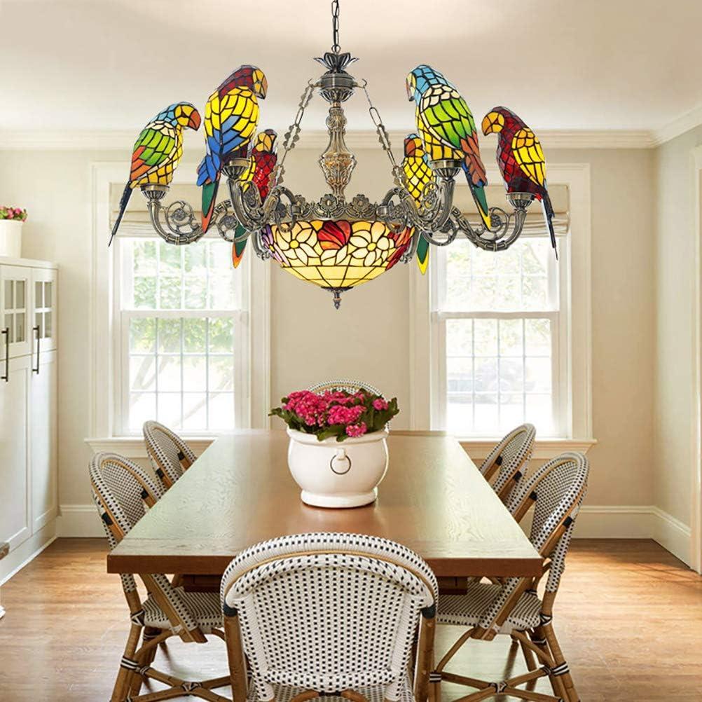Art Araña creativa de diseño de loros, lámpara colgante de Tiffany Style, lámpara de techo con múltiples brazos, lámpara colgante para el comedor de la sala de estar del dormitorio de Villas,