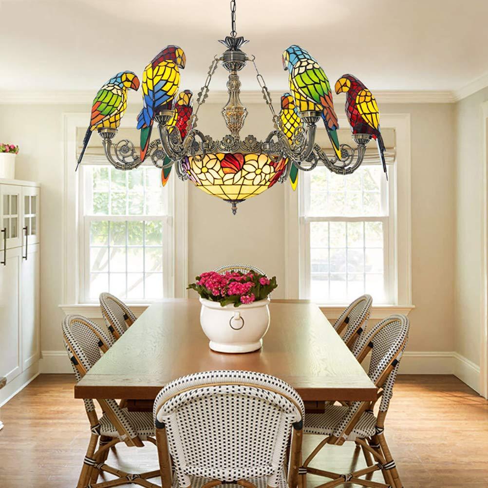Art Araña creativa de diseño de loros, lámpara colgante de Tiffany ...