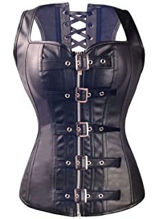 651ff99f98f KIWI RATA Women s Punk Rock Faux Leather Buckle-up Corset Bustier Basque  with G-