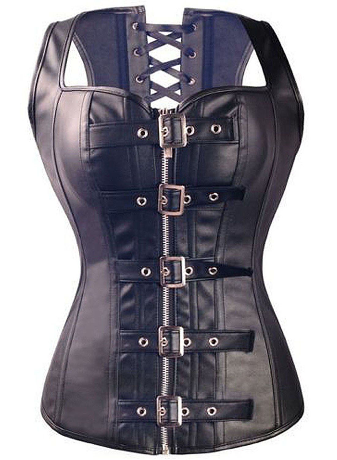 KIWI RATA Women's Punk Rock Faux Leather Buckle-up Corset Bustier Basque with G-String 3