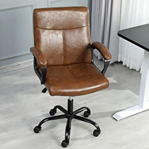 Managerial Chair Office Chair with Armrests Ergonomic Desk Chair PU Leather Executive Chair Adjustable Height and tilt Angle 360 Swivel Chair Vintage Brown