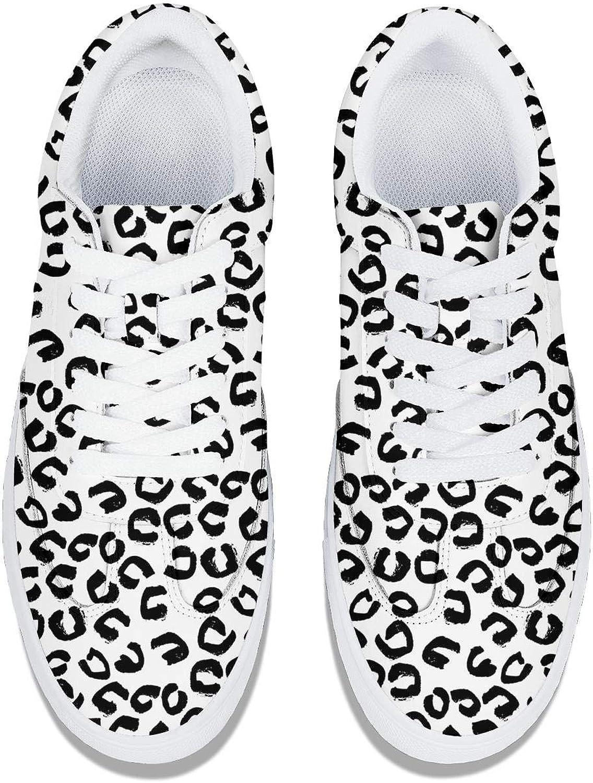 Purple Leopard Print Women Lace-Up Leather Sneaker Fashion Low Top Soft Work Shoes