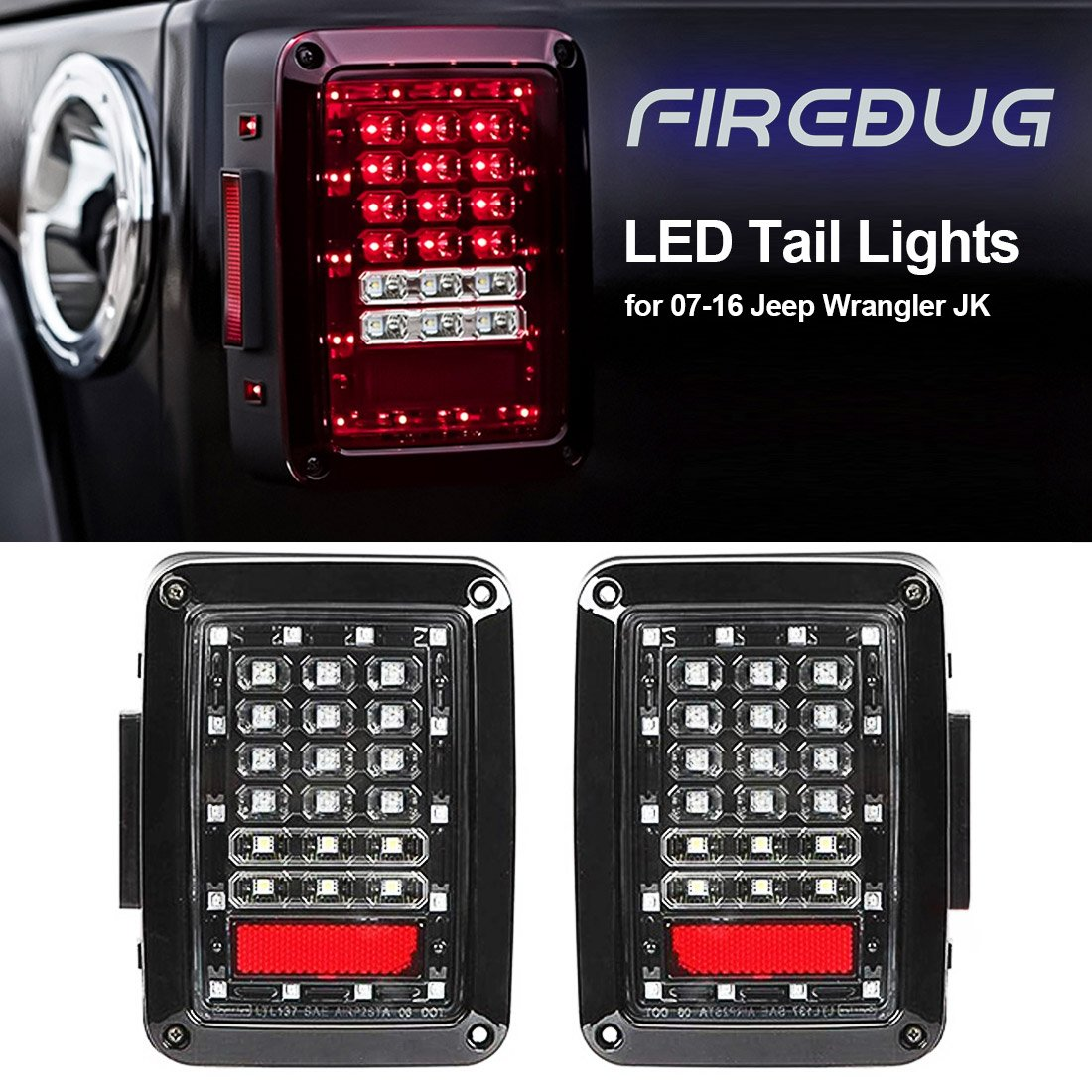 Amazon.com: Firebug Jeep Wrangler Rear LED Lights, Jeep Wrangler LED ...