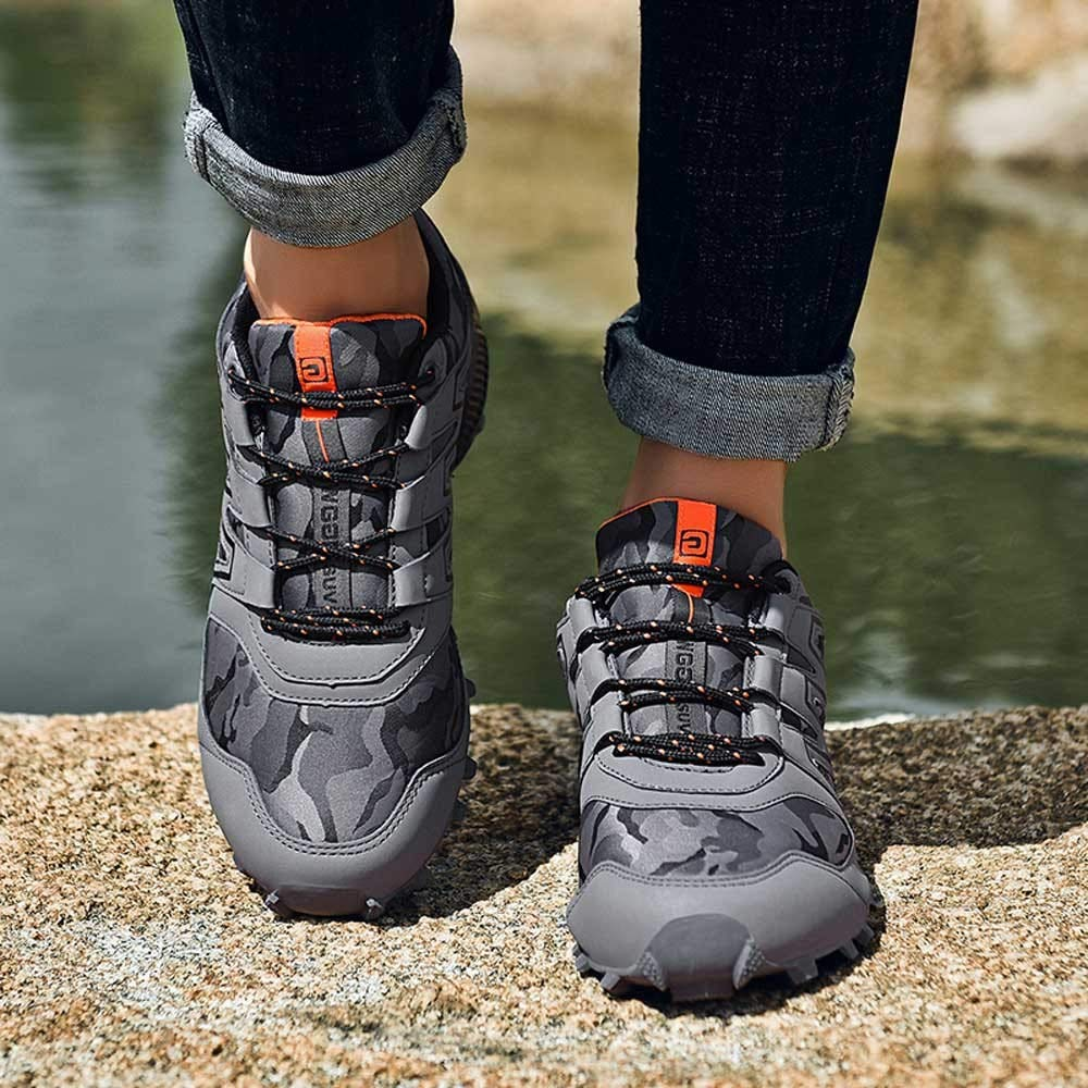 Happy-Day Mens Skid Resistant Hiking Shoes Waterproof Boots Climbing Shoes Outdoors,Mens Suede Slip on Shoes Navy,White Trainers Mens Work