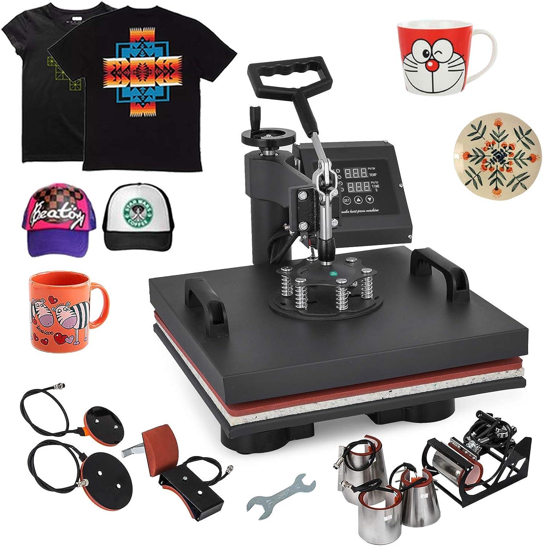 Guellin Máquina de Prensa de Calor Prensa de Calor 15 x 15 Pulgadas Máquina de Transferencia de Calor para Camiseta/Taza / Gorra (8 en 1)