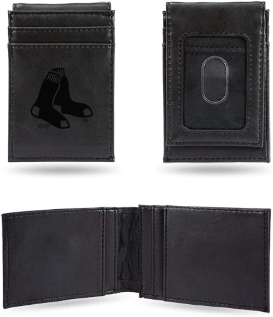 Rico Industries Red Sox Laser Engraved Black Front Pocket Wallet