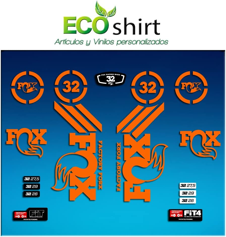 Ecoshirt UA-1M2B-5TXE Pegatinas Sticker Fork Fox 32 Am62 Aufkleber Decals Autocollants Adesivi Forcela Gabel Fourche, Naranja