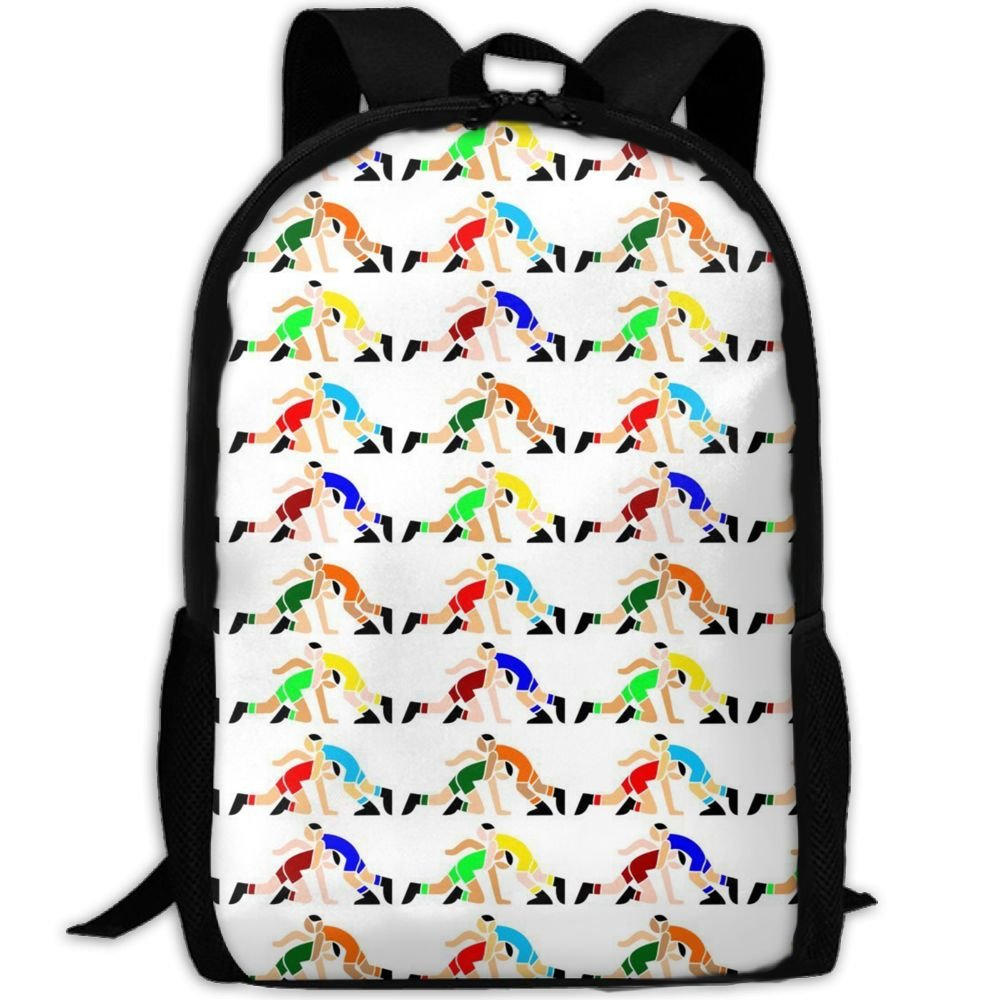 SDEYR79 Wrestling Wrestlers School Rucksack College Bookbag Unisex Travel Backpack Laptop Bag