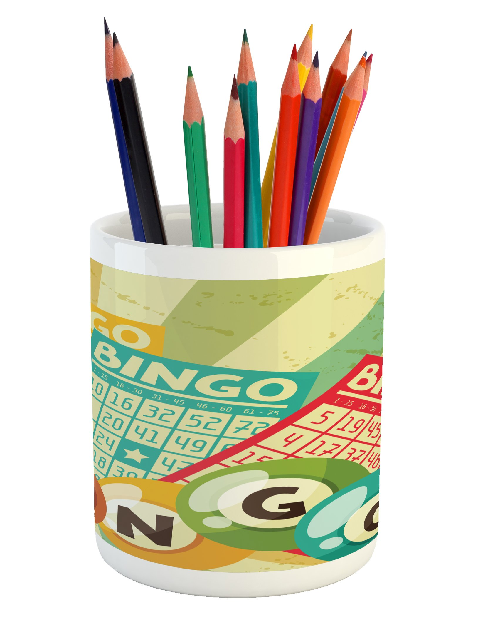 Ambesonne Vintage Pencil Pen Holder, Bingo Game with Ball and Cards Pop Art Stylized Lottery Hobby Celebration Theme, Printed Ceramic Pencil Pen Holder for Desk Office Accessory, Multicolor by Ambesonne