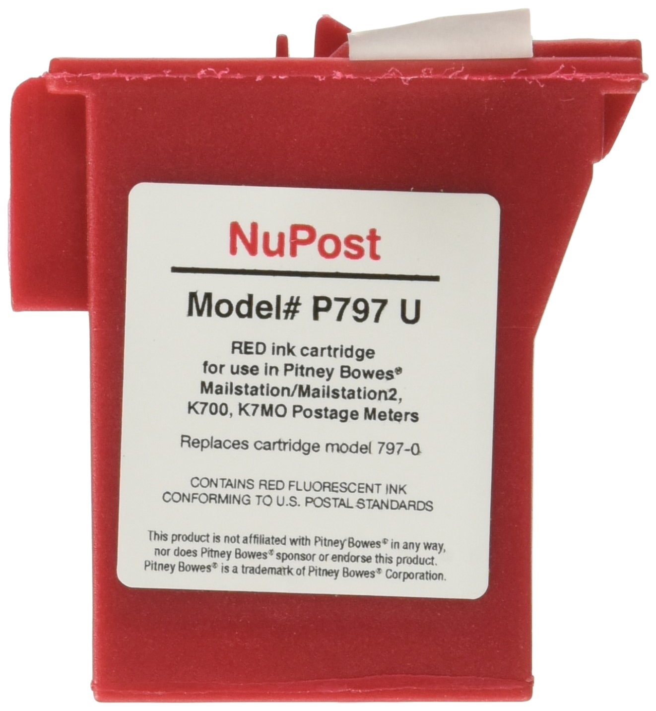 NuPost Non-OEM New Postage Meter Red Ink Cartridge for Pitney Bowes 797-0/ 797-Q/ 797-M