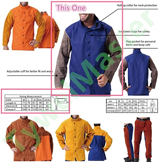 Amazon.com: Welding Jacket Flame/Heat/Abrasion Resistant Hybrid Cowhide Leather & Flame Retardant Cotton Long Sleeve Worker Jacket Welding Apparel for ...
