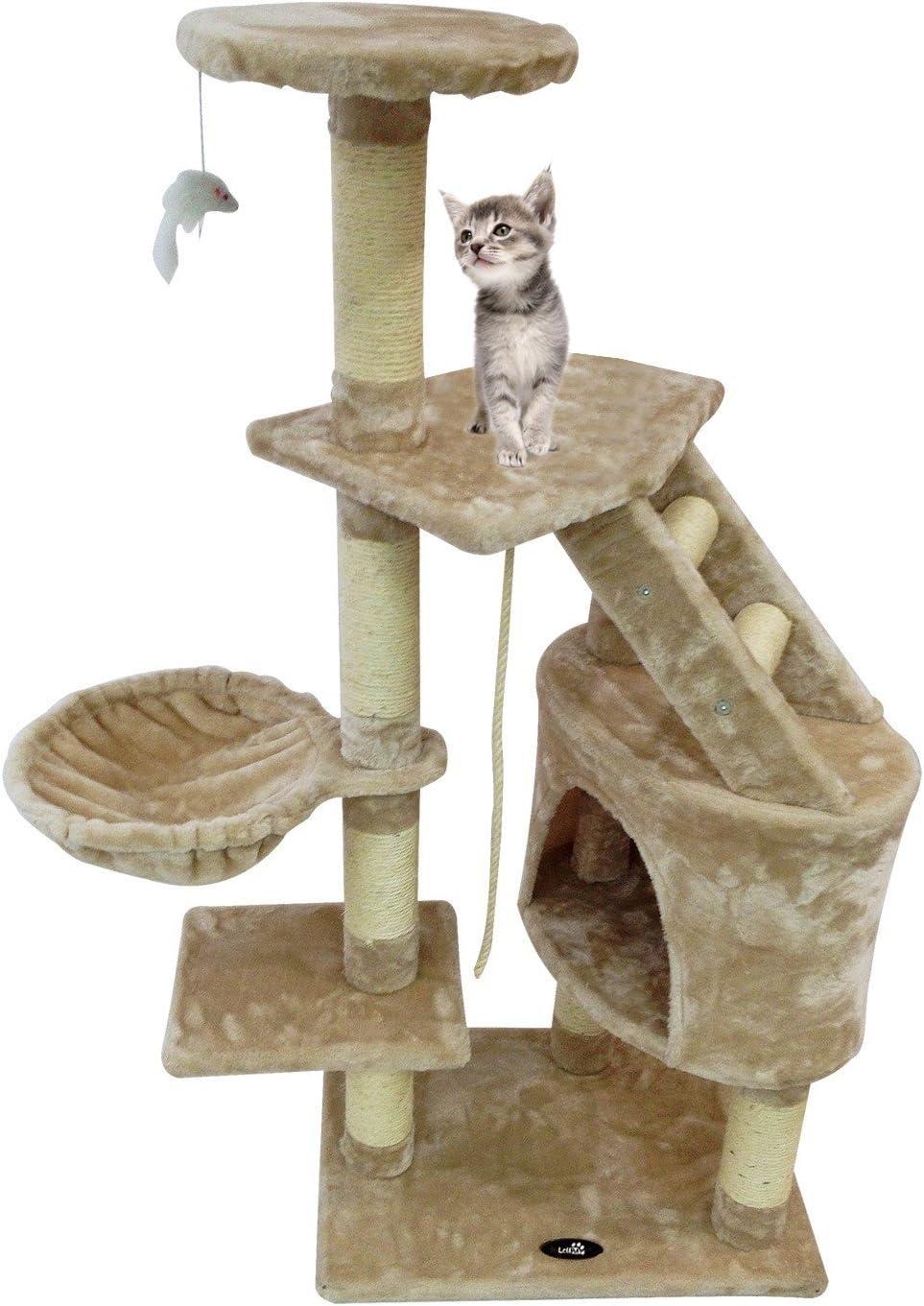 Todeco - Árbol para Gatos, Escalador para Gatos - Material: MDF - Tamaño de la casa de Gato: 30,0 x 30,0 x 42,9 cm - 120 cm, 5 Plataformas, Beige